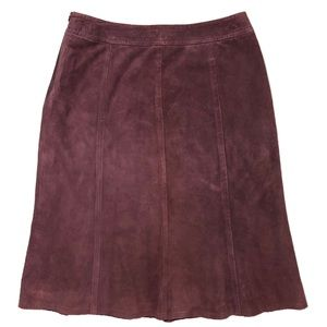 Tommy Bahama Leather Suède skirt silk lined plum